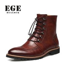 Neue Ankunft Mode Stier schuhe, Handgemachte super warm Echtem leder winterstiefel Männer, Lässig Britische art Schnee stiefel für männer