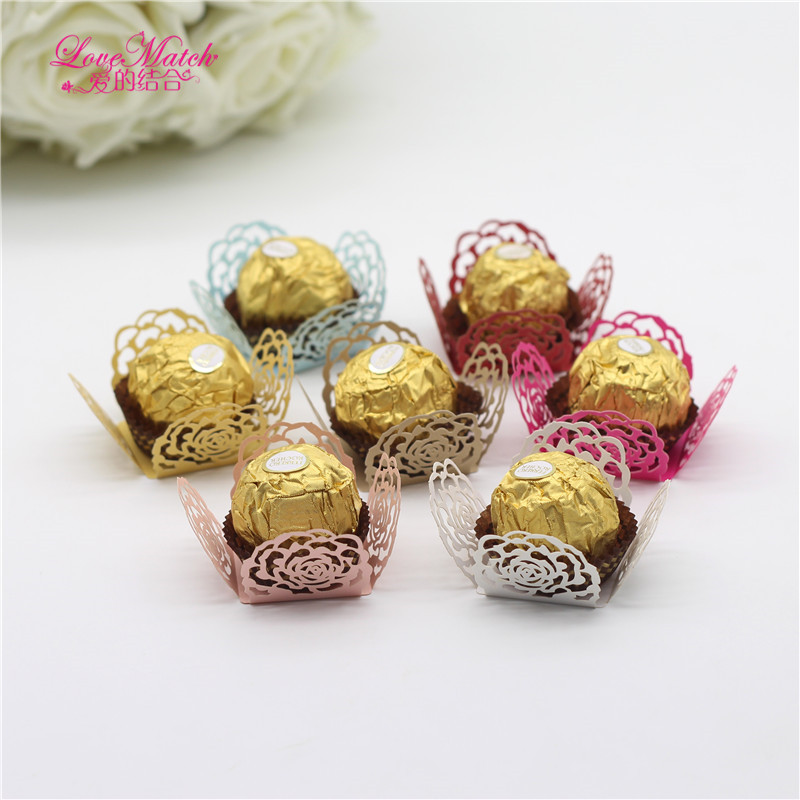 50Pcs Flower Laser Cut Candy Box Bar Wedding Gifts For Guests Chocolate Bar Baby Shower Birthday Party Decorations Kids