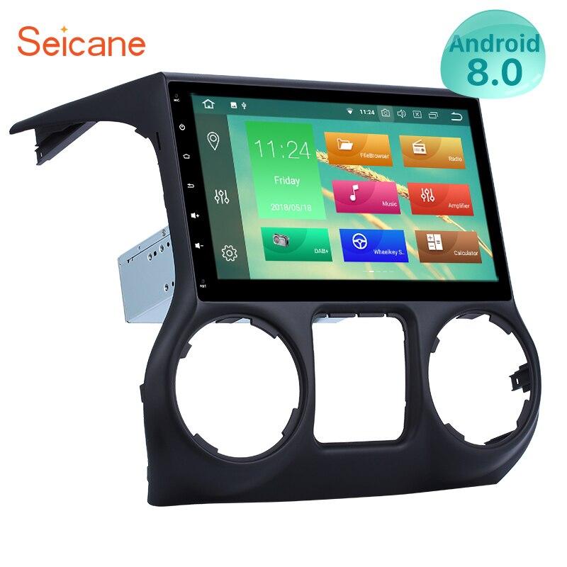 Seicane Android 9.0 10.1 pouces 1Din autoradio pour 2011 2012 2013 2014 2015 2016 JEEP Wrangler GPS Navigation lecteur multimédia
