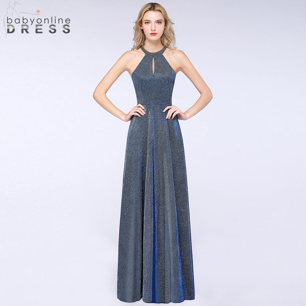 Robe de Soiree Elegant Hollow Out Halter Neck Long Evening Dress 2019 Bright Silk Reflective Evening
