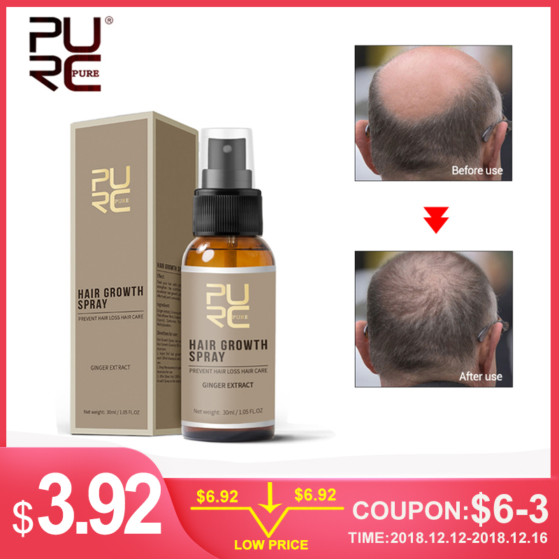PURC New Product 30ml Hair Care Treatment Hair Ginger Growth Spray Extract Prevent Hair Loss/Beard Growing Facial Hair For Men