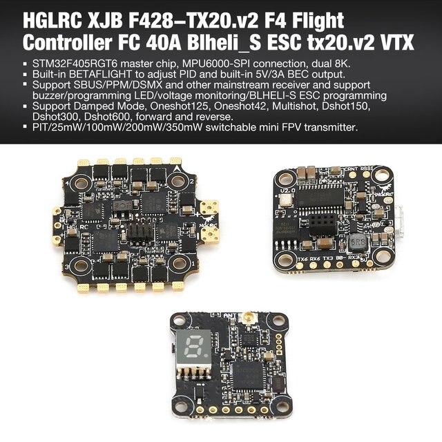 HGLRC XJB F440 TX20 v2 F4 Flight Controller FC 40A Blheli S ESC tx20 v2 VTX  Part