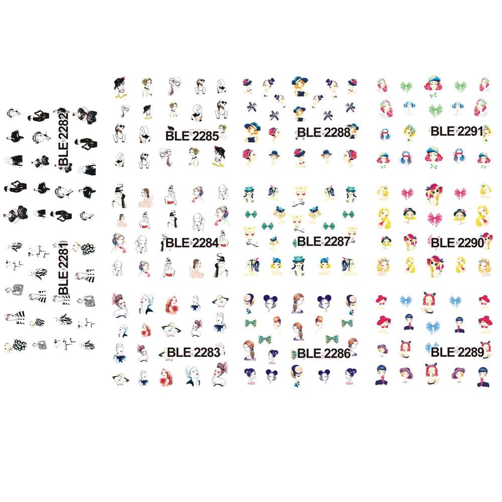 Image 2 - Красота Девушка 1 комплект 11 видов конструкций переводные наклейки воды новые сексуальные женщины рисунок изображения наклейки наконечники для украшения ногтей BLE2281 2291-in Стикеры и наклейки from Красота и здоровье on AliExpress