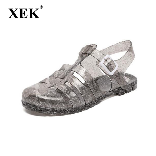 XEK 2018 New Women Sandals Fashion juju jelly shoes Woman Summer Shoes  gladiator crystal flat Roman Shoes ST265 72a88f0027bc