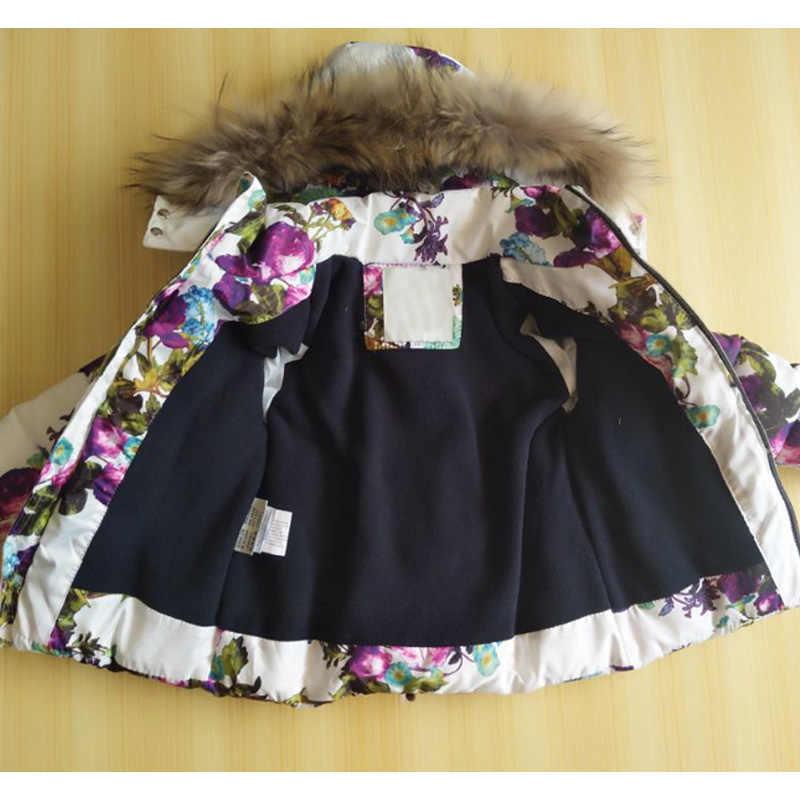 Зимний комплект одежды для маленьких девочек 1-2 лет, пуховое пальто с цветами + комбинезоны, костюмы теплый ветрозащитный зимний комбинезон, лыжный костюм для малышей