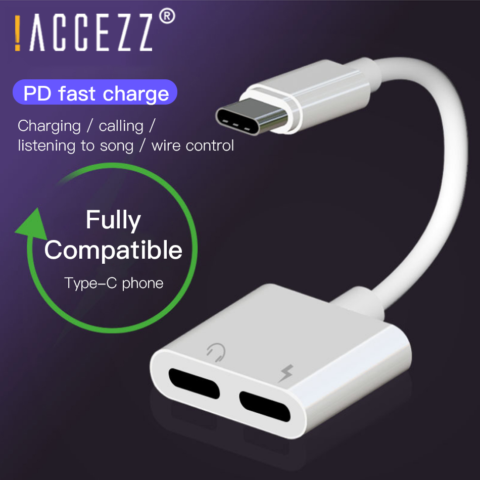 !ACCEZZ 2 In 1 Type-C Adapter USB For Huawei P30 For Xiaomi 3.5mm Jack Earphone Calling Audio Connector Quick Charging Adaptors