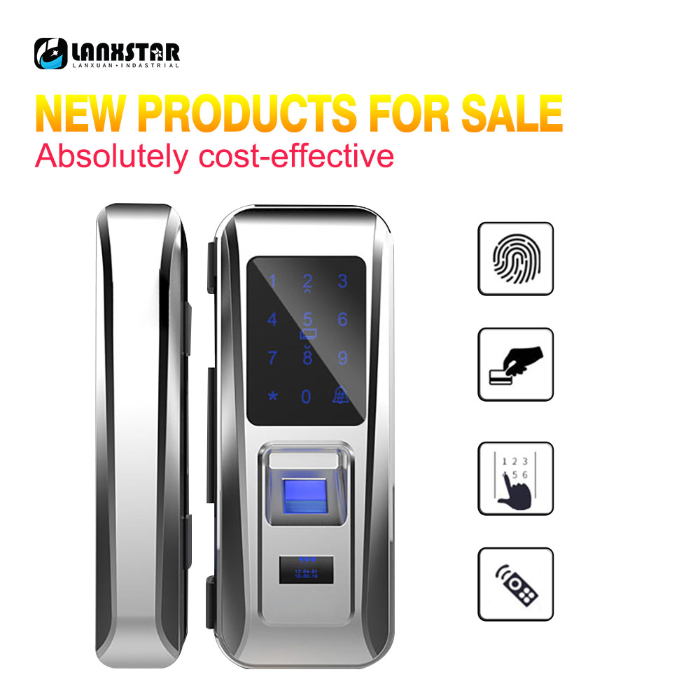 LANXSTAR Glass Door Lock Office Keyless Smart Fingerprint Lock Touch Keypad Smart Card Remote Control Intelligent Door Lock