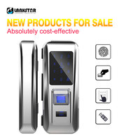 LANXSTAR Glass Door Lock Office Keyless Smart Fingerprint Lock Touch Keypad Smart Card Remote Control Intelligent Door Lock