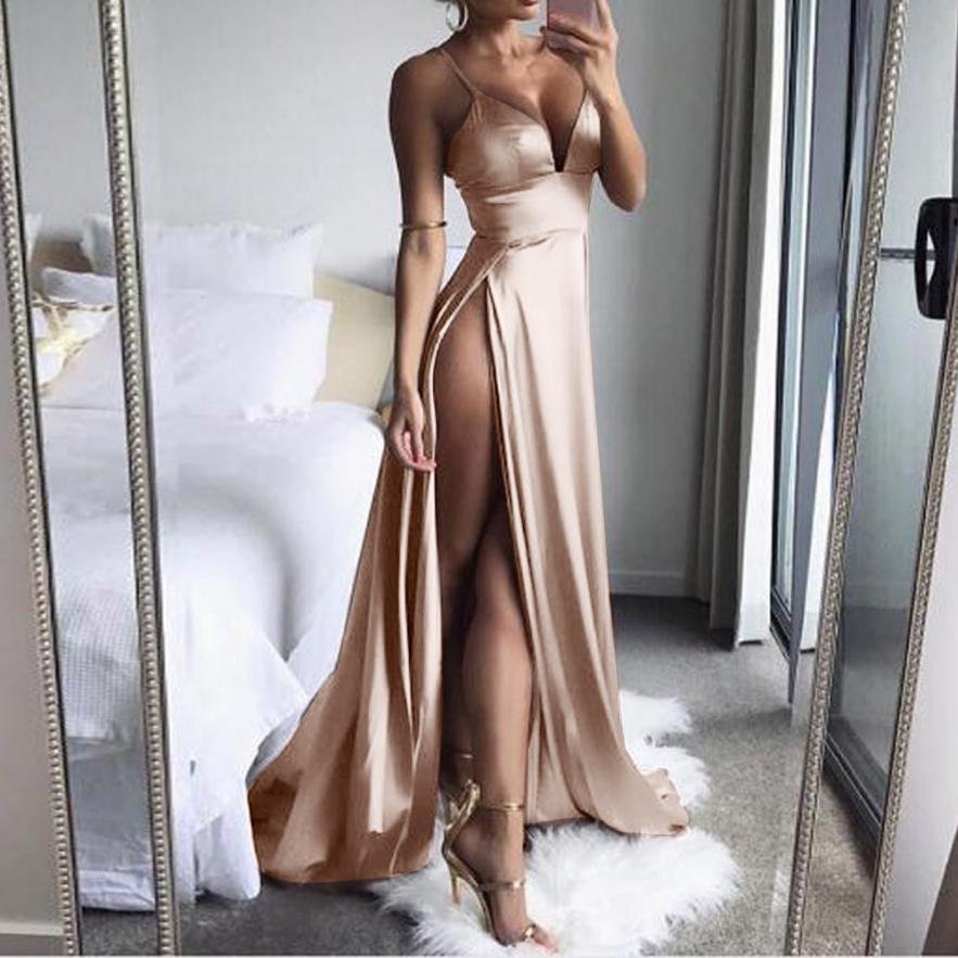 KANCOOLD Dress High-Split Maxi Sexy Women Solid Evening Party Dresses Clubwear Long Sleeveless Dress Women 2018jul31