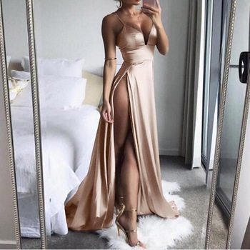 KANCOOLD dress High-Split Maxi Sexy Women Solid Evening Party Dresses Clubwear Long Sleeveless dress women 2018jul31 1