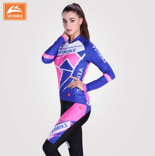 Women Cycling Bike Team Sports Jersey Long Sleeve Shirt Trousers Pant Set