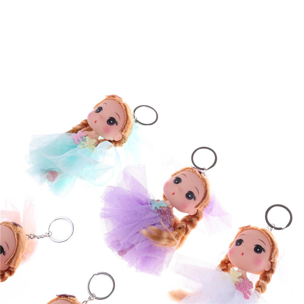 Lindo Chaveiro Princesa Dolls Para Meninas 12 cm Boneca Action Figure Toy Mini Dolls Brinquedos Anime Brinquedos Presente