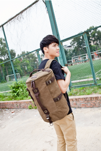 ФОТО High Quality fashion vintage men travel bags large capacity canvas bag backpack for laptop factory price free shipping