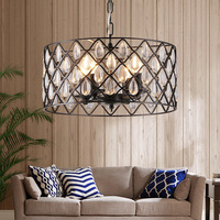 new American village Iron crystal pendant light dining room living room bar kitchen hanging lighting