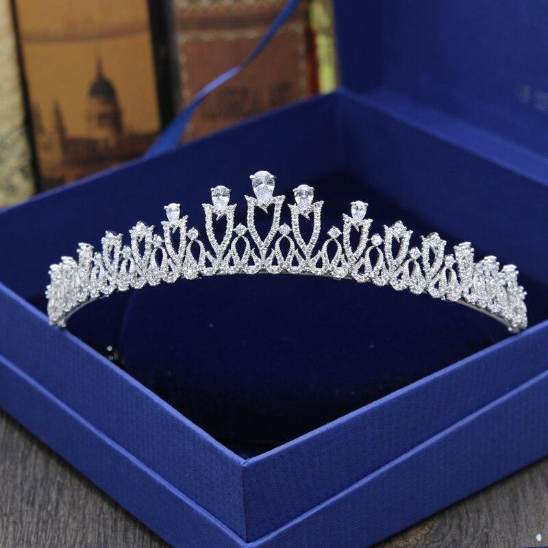 Лидер продаж, Модный женский головной убор с кубическим цирконием, в стиле барокко, Королевская корона, аксессуары для свадебных торжеств, в