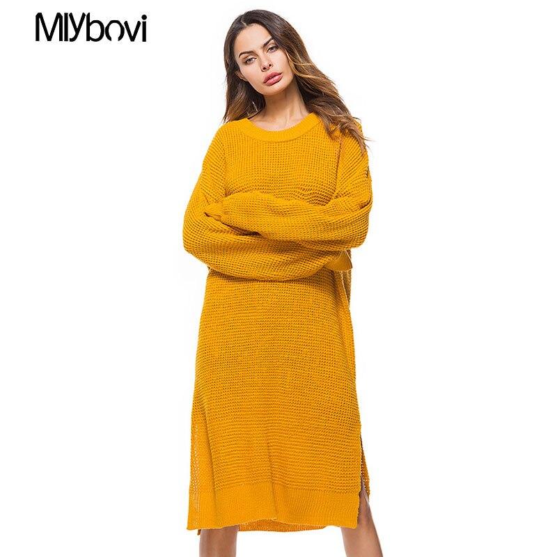 Женское платье свитер осень зима желтый длинный рукав свободные трикотажные свитера платья Твердые Vestido largo Invierno mujer