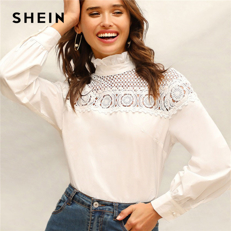a8f8ca84b5 SHEIN Lady Solid Frilled Trim High Neck Guipure Lace Yoke Blouse Spring  Cotton Elegant Bishop Sleeve