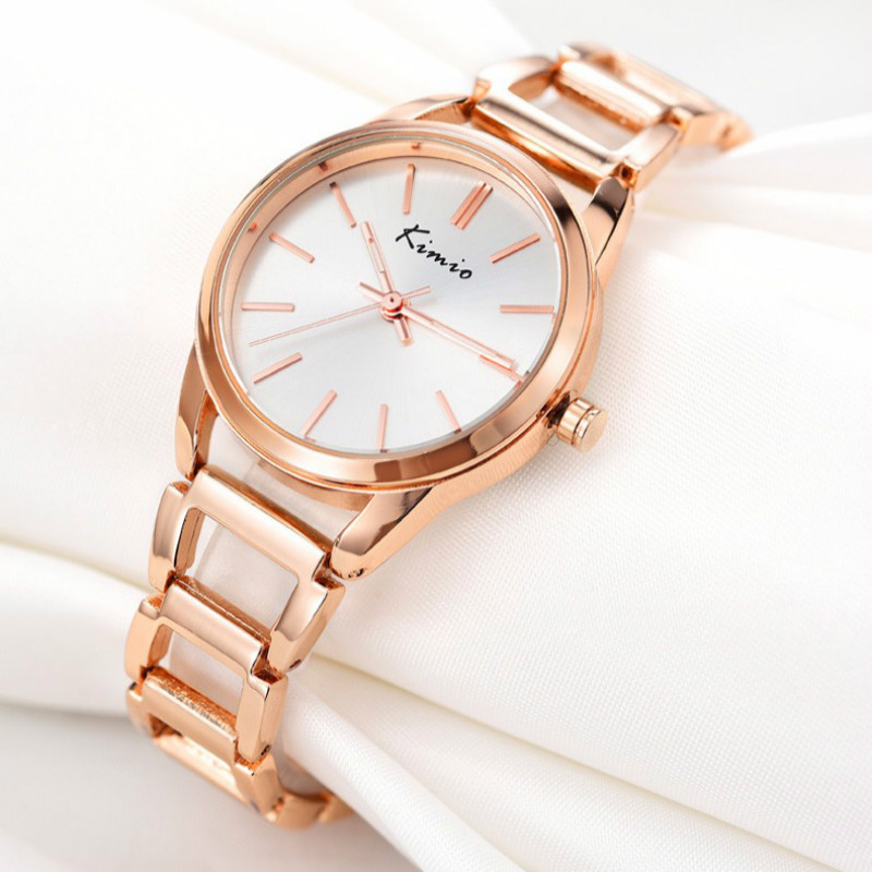 KIMIO Watch Women Top Brand Quartz Charming Stainless Steel Rose Gold Bracelet Watch Ladies Dress Crystal Clock Elegant With Box kimio brand rose gold luxury slim bracelet ladies casual business waterproof clock women dress stainless steel mesh quartz watch