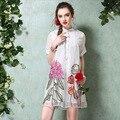 2017 Плюс Размер Новая Мода Женщины Органза-Линии Вышивки Печати С Коротким Рукавом Свободные Повседневная Мини Платье Vestidos Лето Горячие Продажа