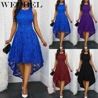 WEPBEL, женское платье, свободное, без рукавов, размера плюс, летнее, кружевное, сексуальное, модное, с круглым вырезом, длинное, повседневное, с ...