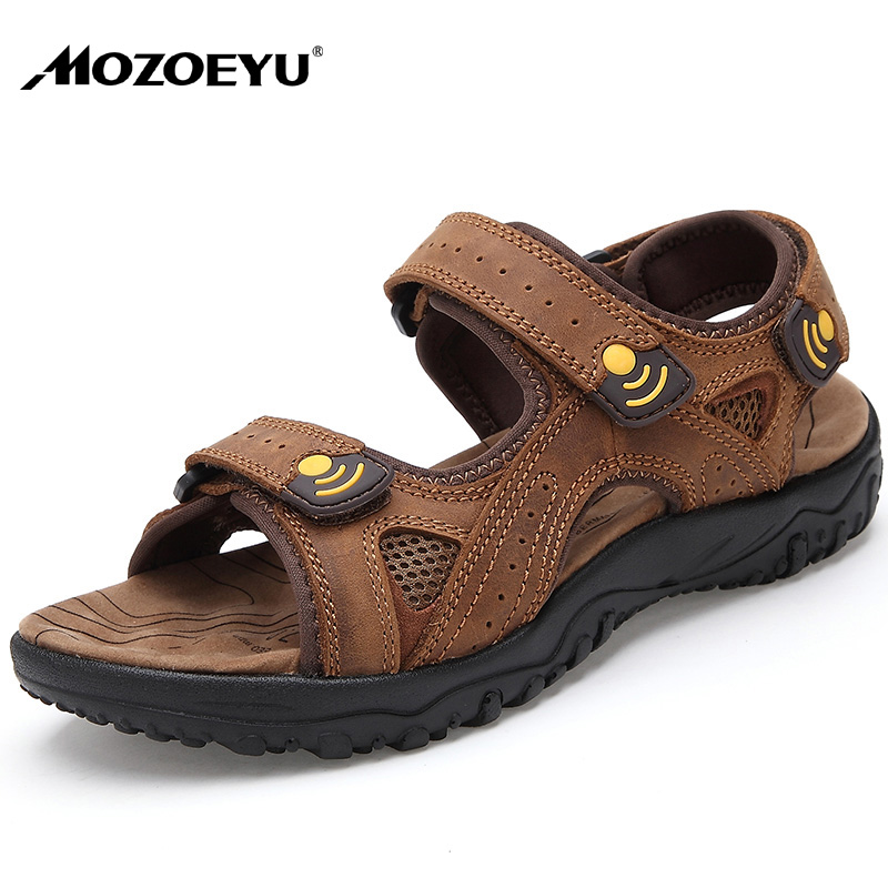 0aa914467c35a MOZOEYU Mens Sandals Summer Breathable Casual Shoes Nubuck leather  Sandalias Anti skid Thick Sole Sandals Plus Size 38 45 Brown-in Men s  Sandals from Shoes ...