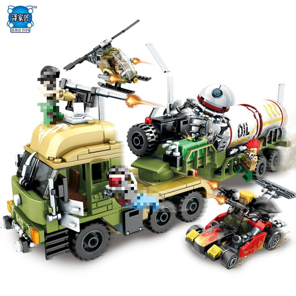 539pcs DIY Military Series Oil Tanker Building Blocks Compatible Lepins Helicopter Toys Weapon Enlighten Bricks Children Toys enlighten building blocks navy frigate ship assembling building blocks military series blocks girls