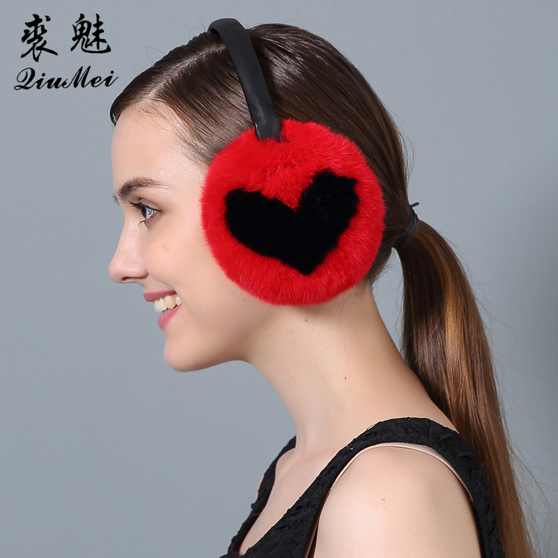 Women's Rabbit Fur Ear Muffs Women  2017 Heart Earmuffs Lovely Earlap Warm Natural Genuine Fur Plush Earmuffs Headphones Winter