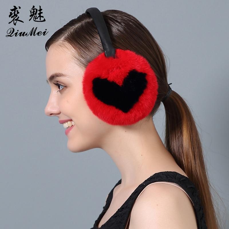Women's Rabbit Fur Ear Muffs Women  2017 Heart Earmuffs Lovely Earlap Warm Natural Genuine Fur Plush Earmuffs Headphones Winter