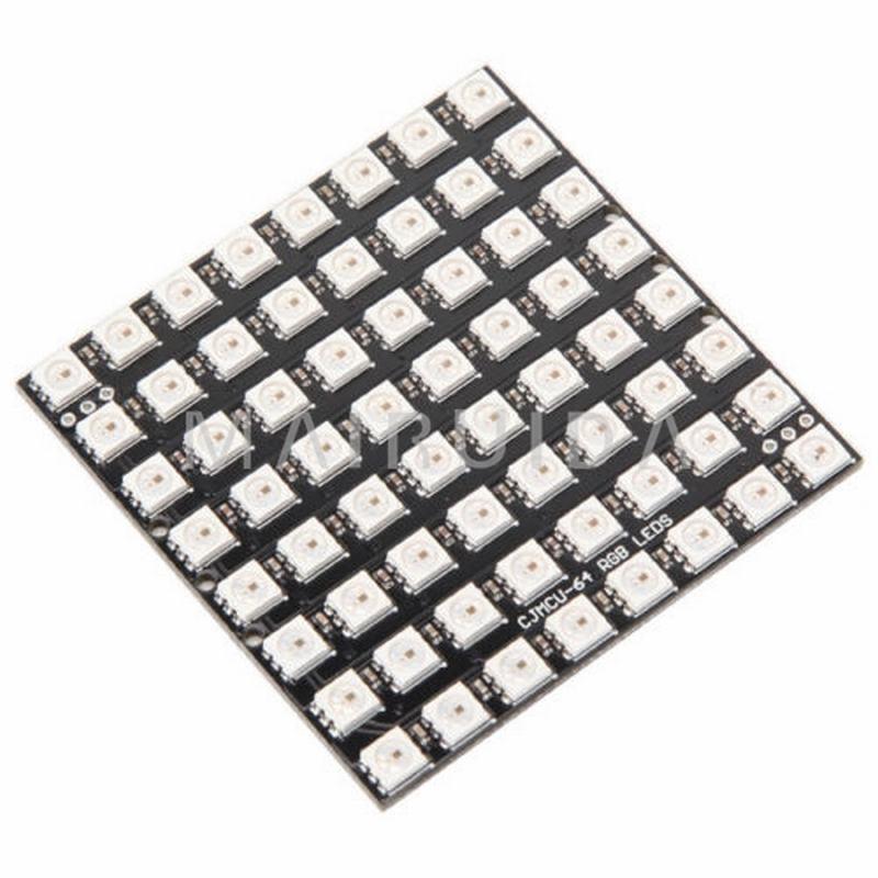 8*8 64 LEDs 5050 RGB WS2812 WS2812B Full Color Flexible Pixel Panel Driver Board full color 8 x 8 led rgb matrix screen driver board