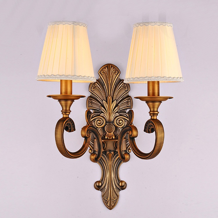 Simple Fabric Tall Wall Light: American Country Double Wall Fabric Simple European Style