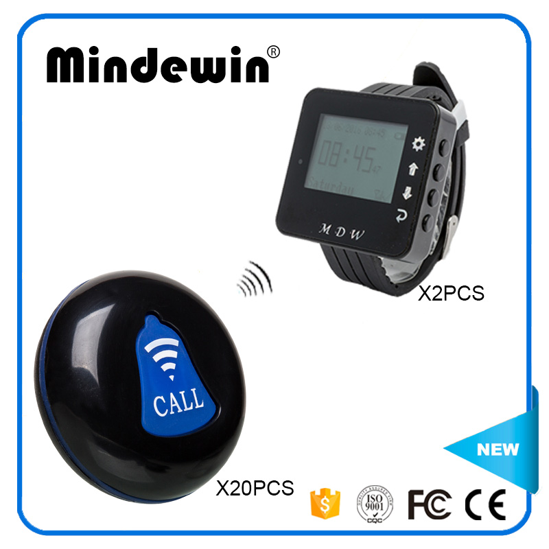 Mindewin Restaurant Pager Wireless Calling System 20pcs Call Transmitter Button+2pcs Watch Receiver 433MHz Catering Equipment 999ch restaurant pager wireless calling system 35pcs call transmitter button 4 watch receiver 433mhz catering equipment f3285c