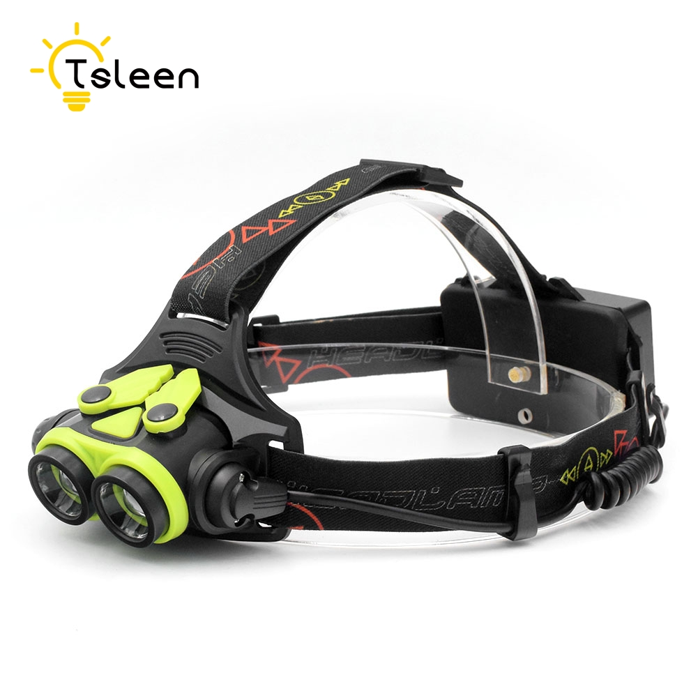 TSLEEN 3000LM Zoom Headlamp 2*Cree L2 Flashlight Head Lamp Torch With SOS Whistle 4 Mode Night Outdoor Camping Running Headlight r3 2led super bright mini headlamp headlight flashlight torch lamp 4 models