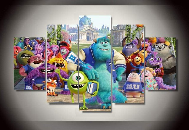 5 Pieces Sets Canvas Art Monsters University Inc Paintings Decorations For Home Wall
