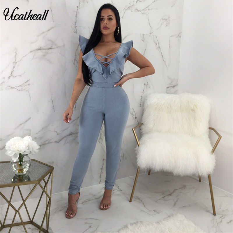 445beff13f05 Ucatheall Women Fashion Blue Denim Jumpsuit V Neck Cross Ruffles Bodysuit  Women Back Zipper Sexy Jeans
