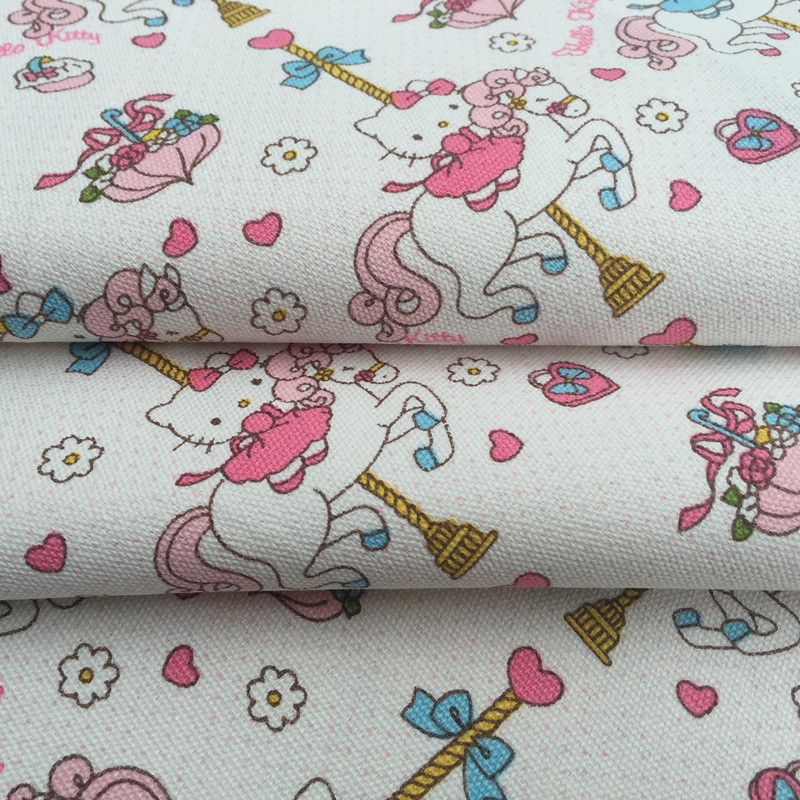 4e760b090 90*145CM patchwork Canvas fabric cartoon Carousel Hello Kitty fabric for  Tissue Kids Bedding home textile school bag for Sewing-in Fabric from Home  & Garden ...