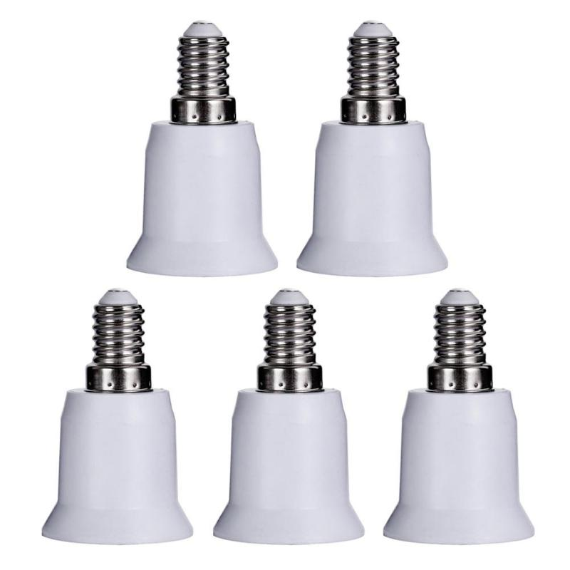 5pcs E14 To E27 Base Screw Light Lamp Bulb Holder Adapter Socket Converter Flame-retardant PBT PlasticHome Converter Accs