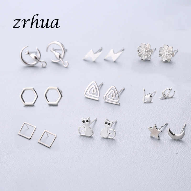 ZRHUA 925 Sterling Silver Simple Stud Earrings Gift pendientes oorbellen boucle d'oreille femmes New Collection Christmas Gifts