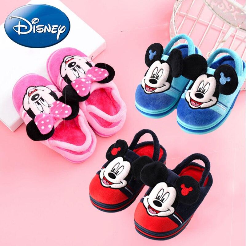 2018 Disney Kids Cartoon Cotton Shoes Minnie Mouse Plush Slippers New Warm Non-slip Boys Girl Home Slipper Mickey Autumn Winter