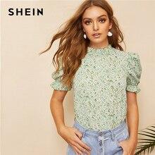 SHEIN Boho verde Ditsy Floral volantes cuello Puff manga superior Keyhole Back blusa mujer verano elegante Oficina señora Tops y blusas