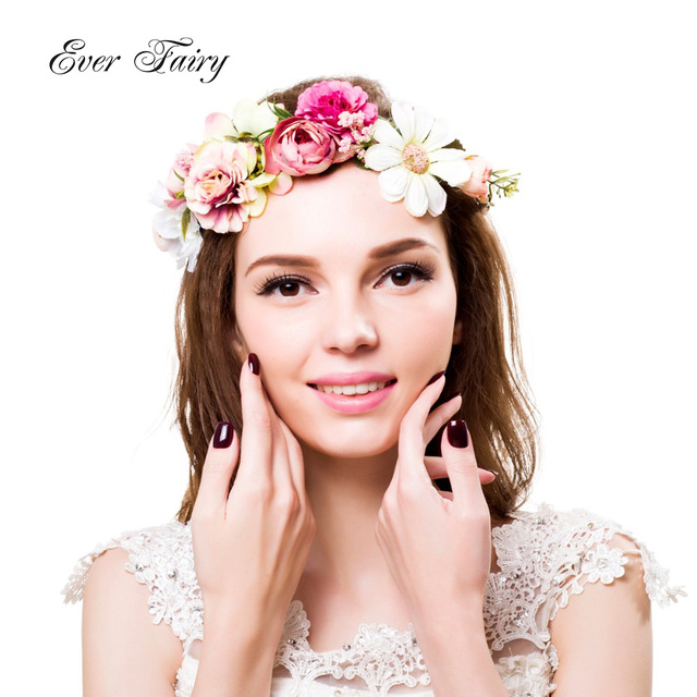 EVER FAIRY Women Flower Crown Wedding Wreath Festival Girls Party Floral  Crown Garlands With Ribbon Flower Headband Headpiece d8d832b0f99