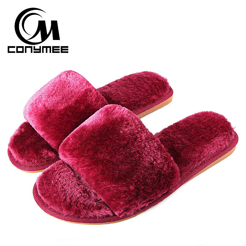 CONYMEE Women Summer Sandals Faux Fur Flats Shoes 2018 Winter Home Fur Slippers Indoor Floor Casual Sneakers Plush Warm Slipper