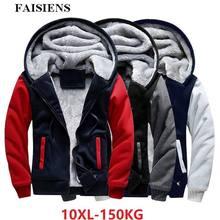 Мужская Флисовая парка FAISIENS, черная Толстая теплая куртка с капюшоном, большого размера 7XL 8XL, зимняя верхняя одежда, 9XL 10XL