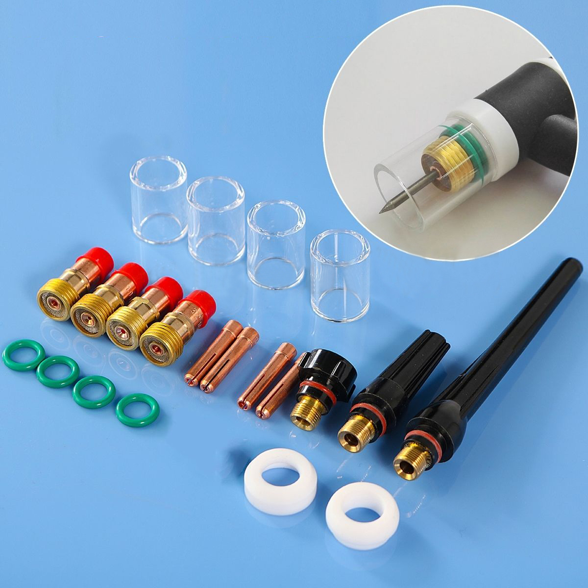 21pcs Mayitr TIG Welding Torch Kit Sollets Body Stubby Gas Lens #10 Pyrex Cup for WP-17/18/26 Torch Consumables Accessories wp 17f sr 17f tig welding torch complete 13feet 4meter soldering iron flexible
