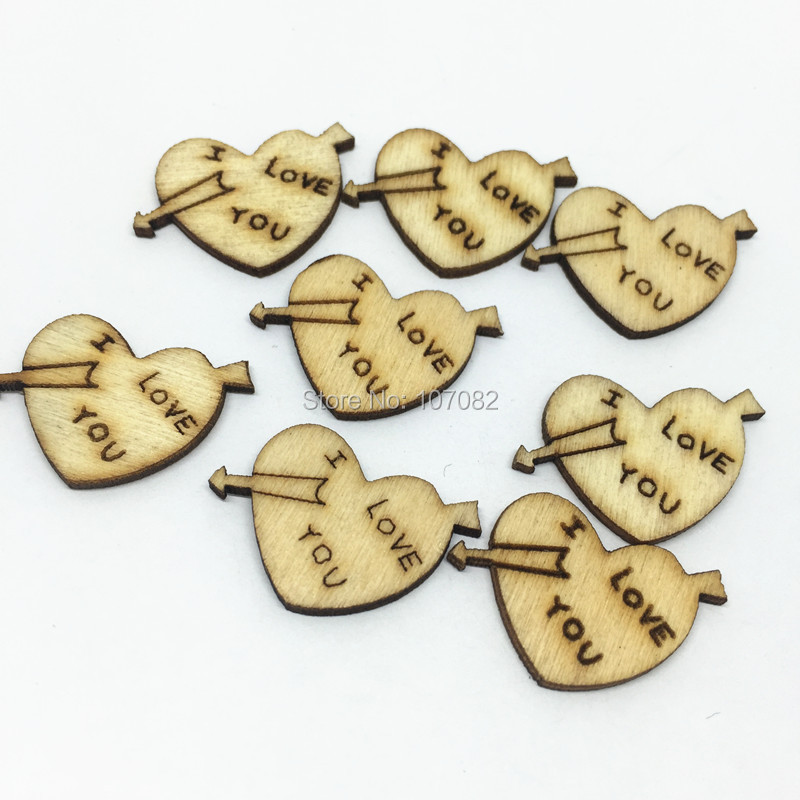 1000PCS 15X24MM Rustic Wood Chips Shabby Chic I LOVE YOU Hearts Emebellishments Wedding Decorations Cardmaking DIY Crafts