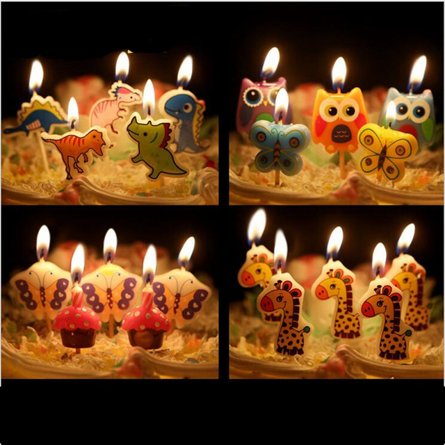 5 Pcs Set Cartoon Kids Birthday Cake Cupcake Toppers Candle Candles Party