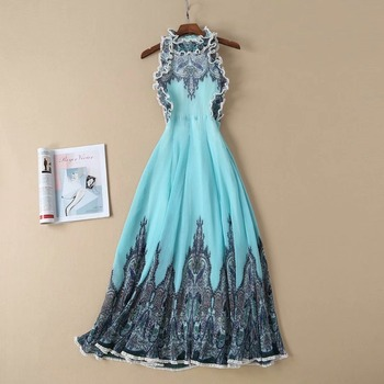 European and American women's dress 2019 spring new  sleeveless  Lace collar  pleated vintage print dress