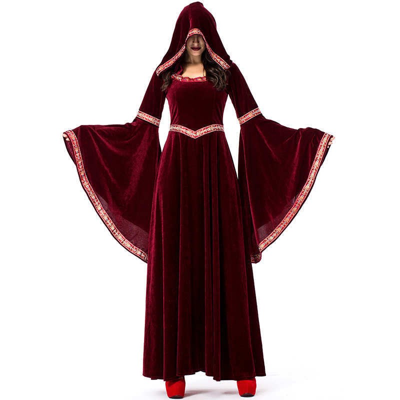Vintage Wine Red Vampire Halloween Witch Costume For Women Wizard Masquerade Party Court Hooded Dresses Cosplay M XL