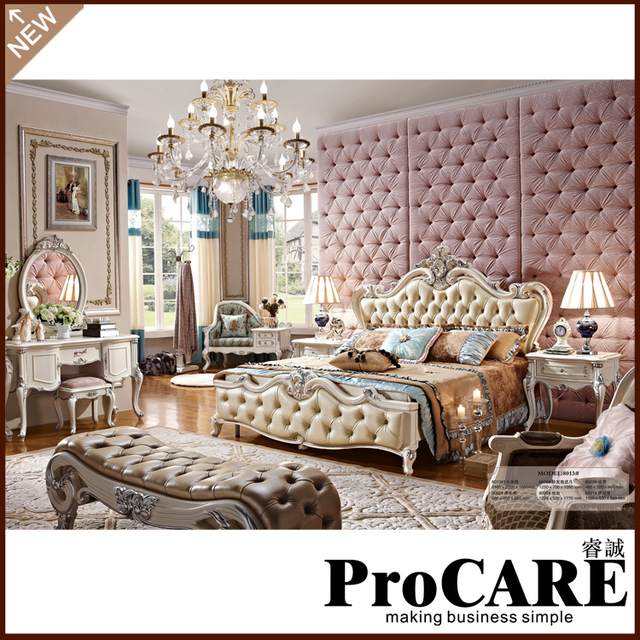 antique hand carved bed luxury Top quality Europe style bedroom furniture  classical leather bed - Antique Hand Carved Bed Luxury Top Quality Europe Style Bedroom