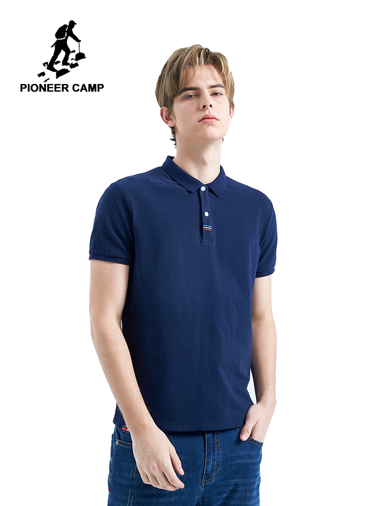 Pioneer Camp Men   Polo   Shirt 2019 Summer Men Business Casual Breathable Solid Short Sleeve   Polos   Cotton Work Clothes ADP901156