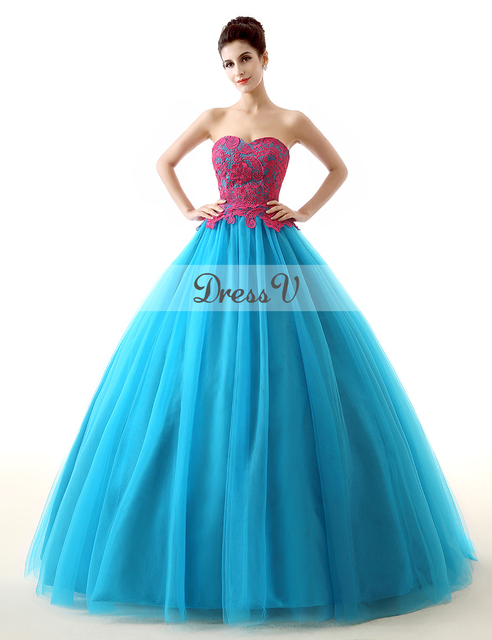 Cheap Hot Pink And Ice Blue Ball Gown Quinceanera Dresses 2015 ...